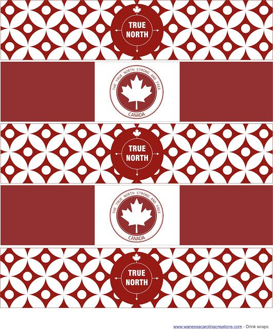 "FREE Canada Day Printable's- Drink wraps, party logos, mini party logos, party flags, cupcake wraps, ""Happy Canada Day"" Banner + spacers."