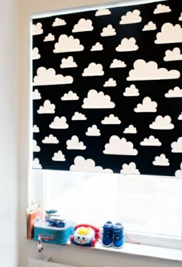 verdunkelungsrollo kinderzimmer design rollos wolken muster