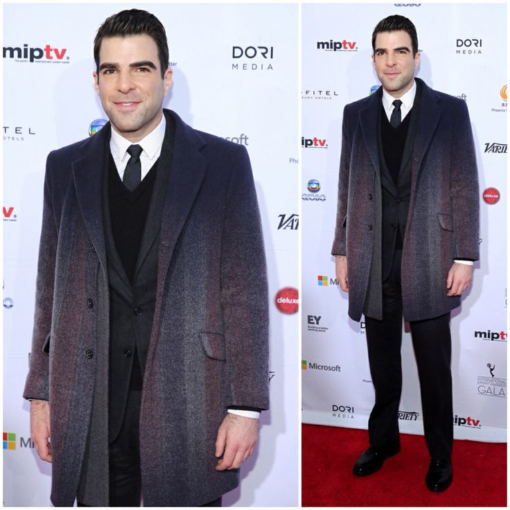 Zachary Quinto at 41st International Emmy Awards in New York on November 25, 2013 with Jil Sander gradient overcoat