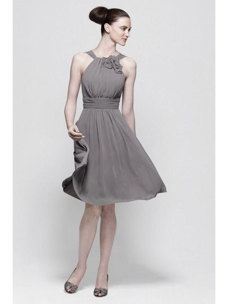 A-line-Knee-length-Chiffon-Grey-Bridesmaid-Dresses