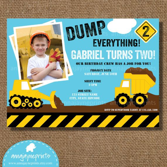 17 Best images about Gages 1st birthdaysniff sniff on – Tonka Truck Birthday Invitations