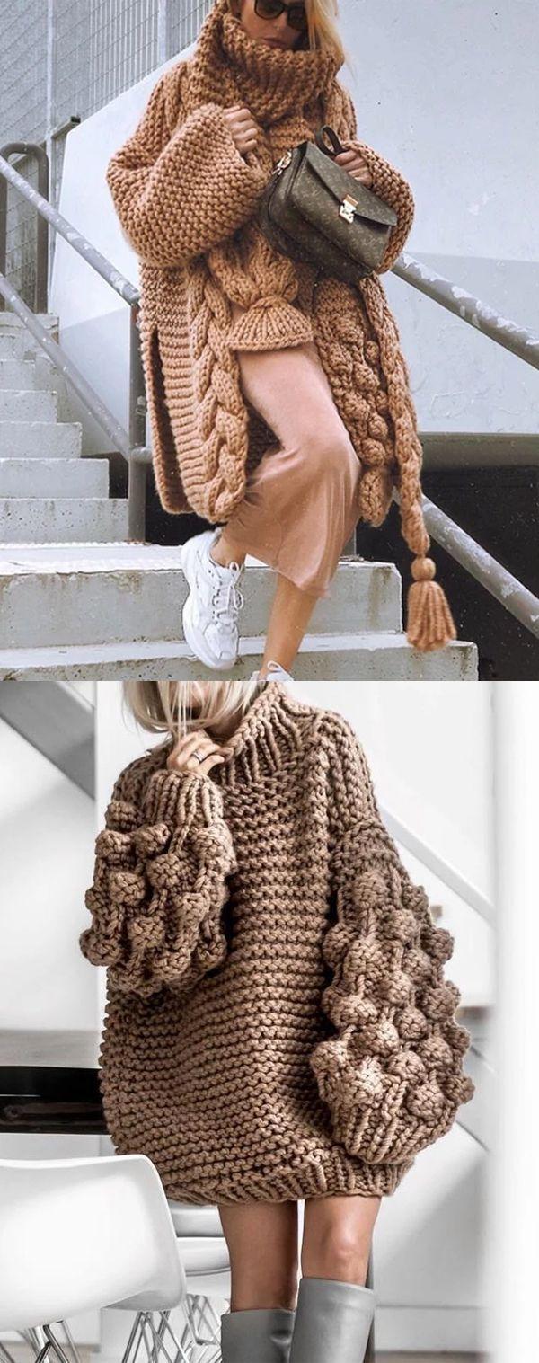 Autumn And Winter High Neck Fluffy Sleeve Twist Sweater #KnitSweaters #WinterSwe… – Kleidung,Schuhe,Taschen