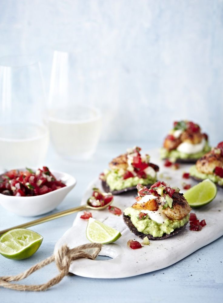 Make the most of fresh scallops with these Mexican-inspired mouthfuls. Use prawns or fish if scallops aren't available.