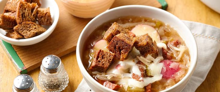 A delicious hearty deli favorite sandwich comes to life in a soup!