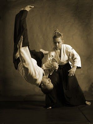 "Aikido requires very little physical strength, as the aikidōka (aikido practitioner) ""leads"" the attacker's momentum using entering and turning movements. The techniques are completed with various throws or joint locks."