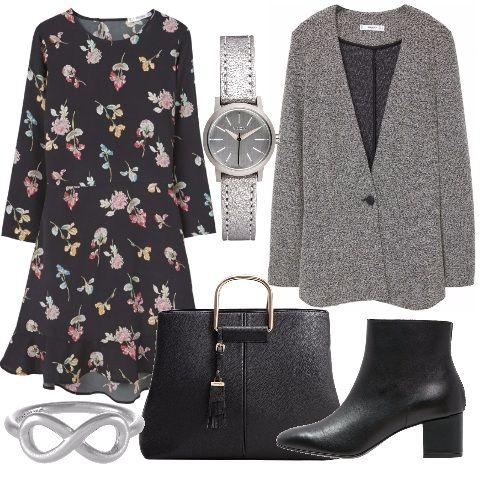 Questo outfit è molto versatile, adatto sia per l'ufficio sia per una serata casual. Ho scelto per voi: abitino nero stampa fiori da abbinare al blazer grigio melange, Gli accessori completano il look in modo impeccabile: borsa nera, stivaletti, orologio e anello.