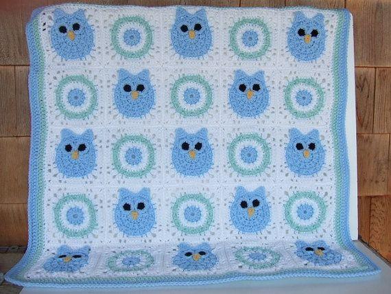 Crochet Owl Baby Blanket Crochet Owl Baby Hat by donnascrochet