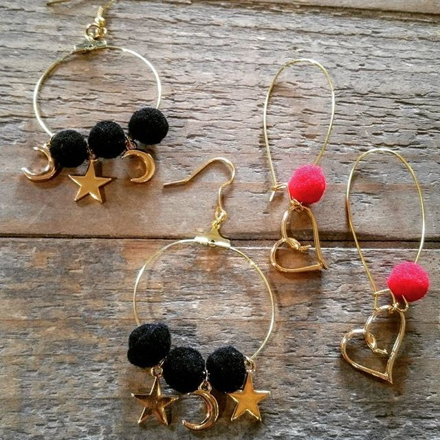 Frolic Stones...star and heart earrings