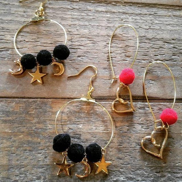 Frolic Stones...star and heart earrings