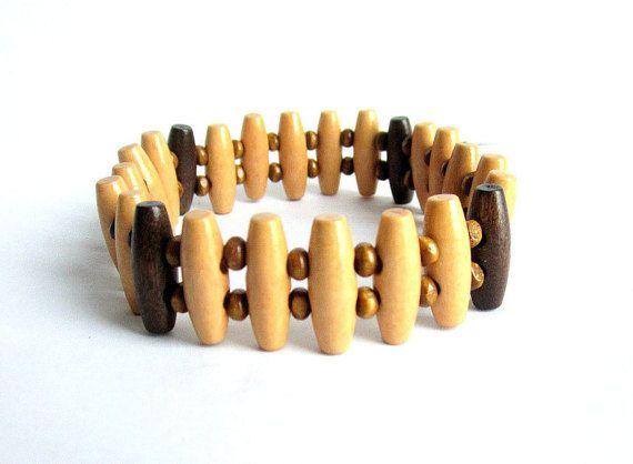 Mens wooden stretch bracelet wood beaded by Bravemenjewelry