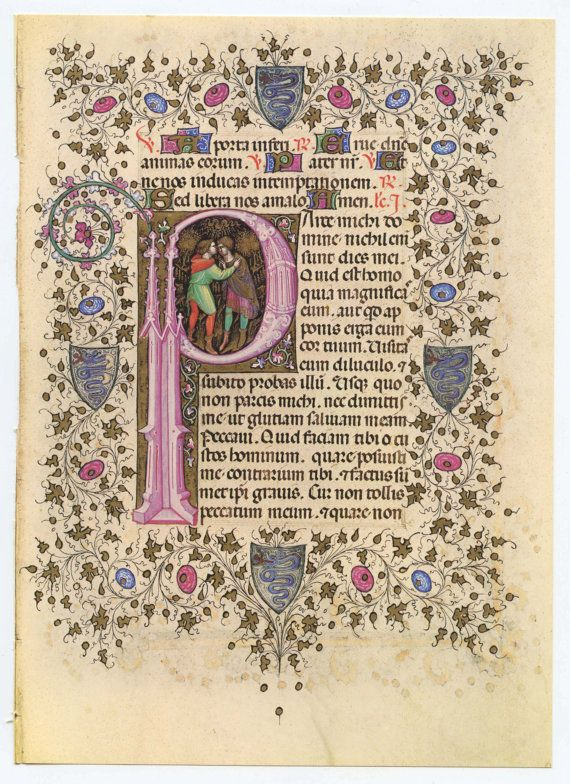 Items similar to Vintage Bible Illuminated Manuscript Print, Moses embracing Aaron, Bible, Old Testament Letter P shape on Etsy