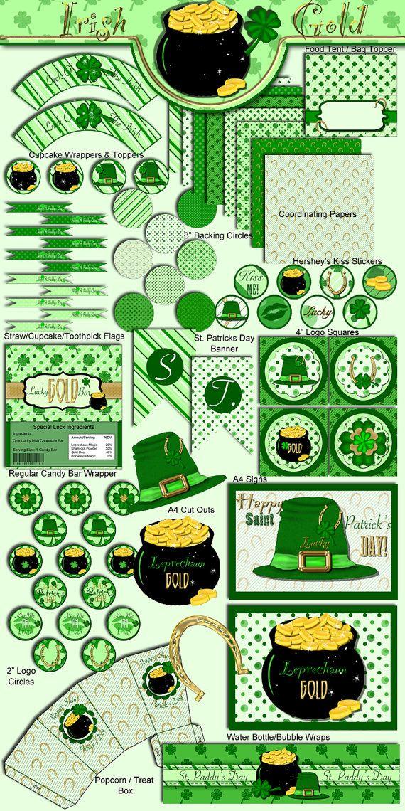 Saint Patrick's Day Party Printable Set - Printable - Digital File - INSTANT DOWNLOAD - Irish Gold, Lucky Horseshoe, Leprechaun on Etsy, $14.19 AUD