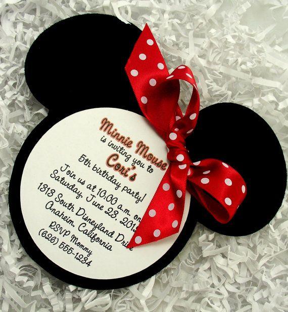Minnie Mouse Invitations Red - Handmade Velvet Die Cut - 10