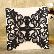 WA1512021 12pcs Black Greeting Hollow Out Laser Cut Wedding Invitations Paper Cards Party Decoration Wedding Favors(China (Mainland))