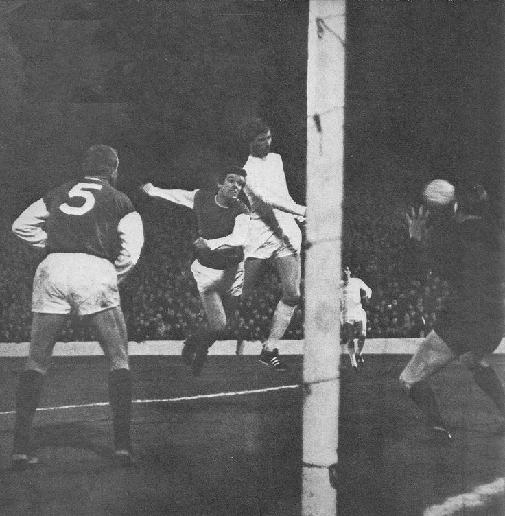 10th January 1968. Jack Charlton out jumps Hibernian centre back Pat Stanton to score Leeds vital away goal in the Fairs Cup 3rd Round 2nd Leg, at Easter Road.