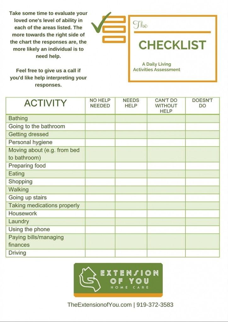 Image result for caregiver daily checklist | Tips for ...