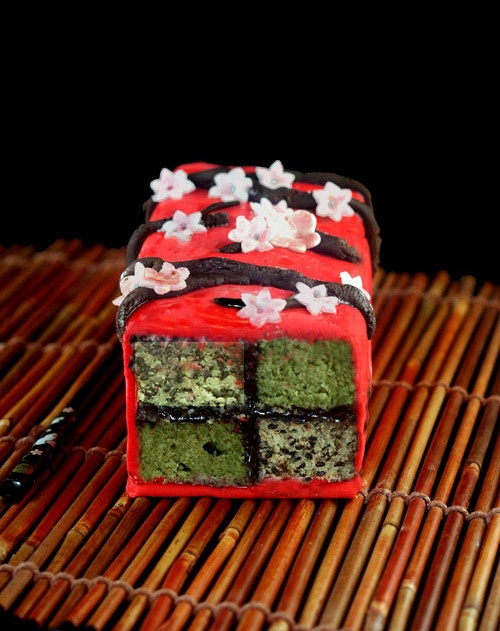 Matcha - Black Sesame Battenberg Cake with Cashew Marzipan, Chocolate Plastique Branches and Fondant Sakura Cherry Blossoms