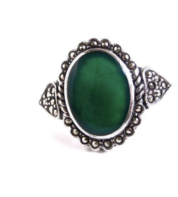 Vintage Green Stone & Marcasite Ring - Size 8 Sterling Silver Jewelry / Forest Green Statement