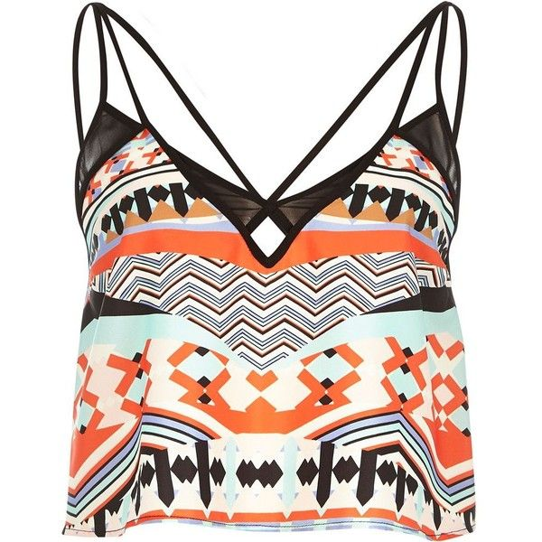 River Island Orange geo print cami top (120 EGP) ❤ liked on Polyvore featuring tops, shirts, crop tops, tank tops, sale, white cami, cropped camisole, orange camisole, white camisole and white kaftan