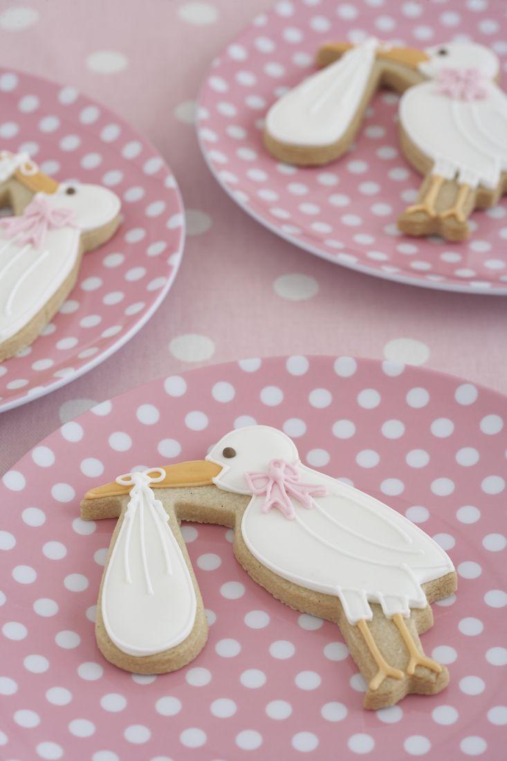 Charming Baby Shower Stork Cookies by @peggyporschen