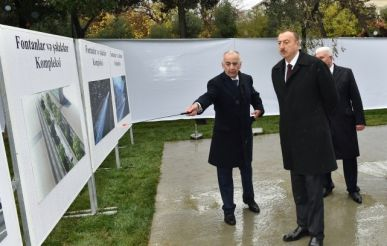 President Ilham Aliyev reviewed construction progress at a fountain and waterfall complex in Khatai District