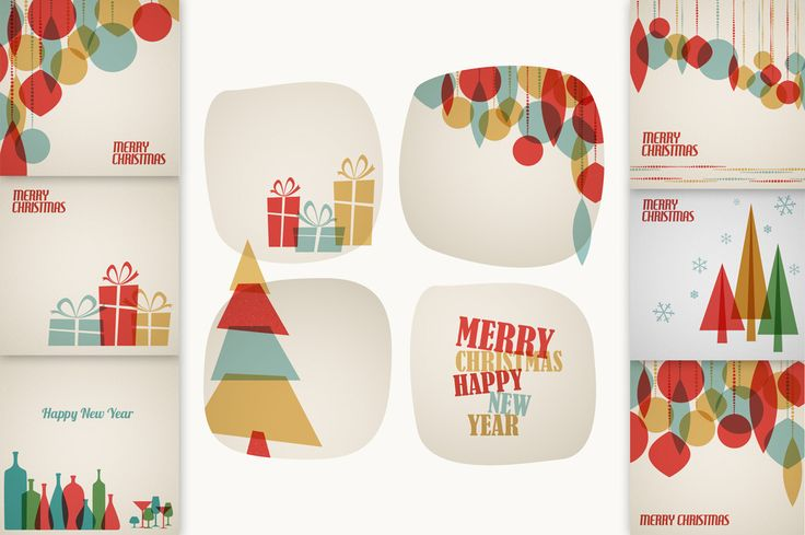 7 Retro Christmas Card Templates by Orson on Creative Market