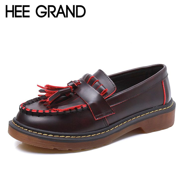 HEE GRAND Vintage Tassel Women Oxfords Shoes Slip On Creepers Autumn Platform Brogue Shoes Woman Casual Flats Size 35-43 XWD4373