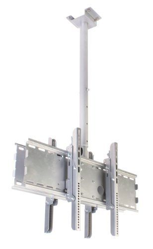 "Ceiling TV Mount 7""w x 5-1/4""h Silver Polished 32""w x 9""h x ¾""d LCD Bracket for (2) 30""- 63"" Screens Weighing Less than 165 Pounds Each - Flat Screen Rack Comes with an Adjustable 43-1/2"" to 63"" Pole by Displays2go. $107.32. This TV ceiling mount comes with an adjustable pole to move the screens to the correct height for the room. The LCD bracket accommodates two televisions at once, so customers can see the advertisements from both sides. This TV ceiling moun..."