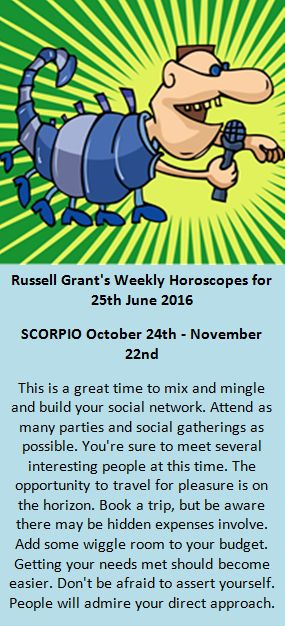 Astrology - Your Scorpio Weekly Horoscope for 25th June 2016