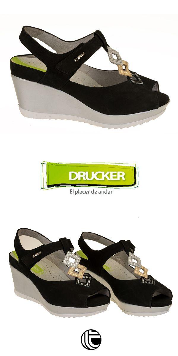 Modelo Drucker Sandalia Negro En De Adorno Pedrería Con Color UzpGLqVSM