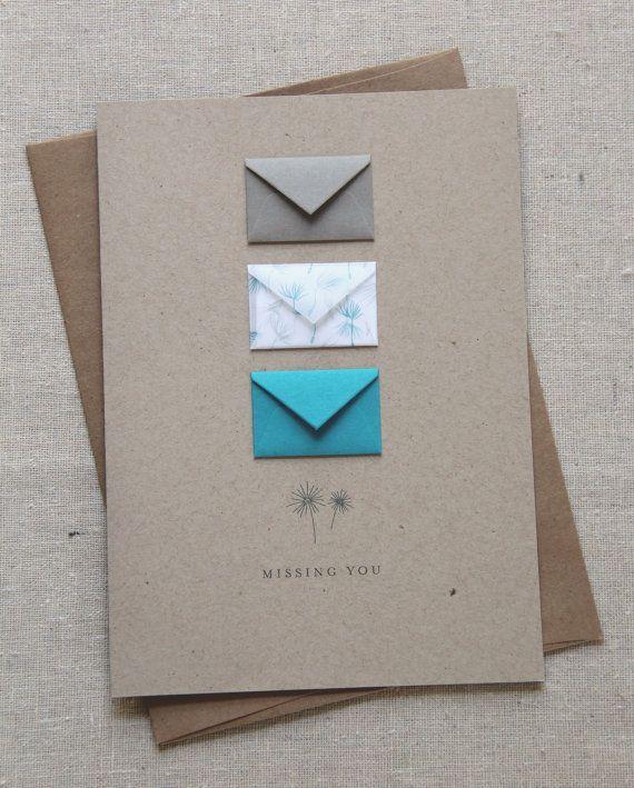 Missing You Tiny Envelopes Card Etsy Tiny Envelopes Birthday Cards Diy Greeting Cards Handmade
