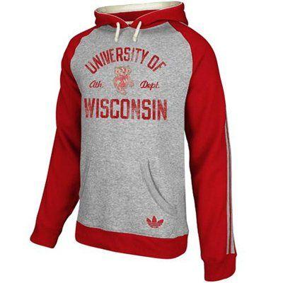 adidas Wisconsin Badgers Fleece Hoodie - Gray/Cardinal