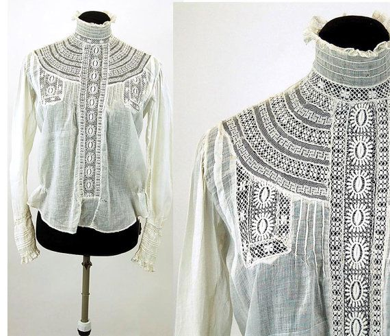 Edwardian blouse 1910s bodice lace pin tucks high by vintagerunway