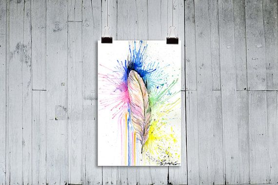 Bohemian Wall Art Feathers Wall Print Feather by ColorfulSimone