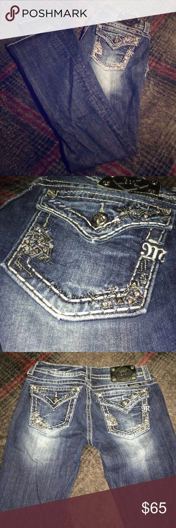 Miss Me Jeweled Jeans Perfect condition! Size 28, straight leg style. Signature rise. Miss Me brand. No fraying or holes. All stones in tact. So cute! Miss Me Jeans Straight Leg