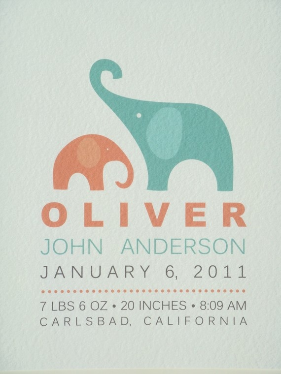 Modern Birth Announcement Print elephant from simplicity papers