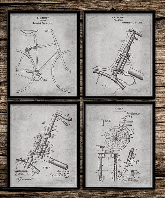 Vintage Patent Bicycles | Patent Prints | Office Decor | Home Decor | Printable Wall Art | Vintage Wall Art | 8x10 | Instant Download |