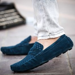 Green British Style Men's Casual Shoes With Suede and Checked Design