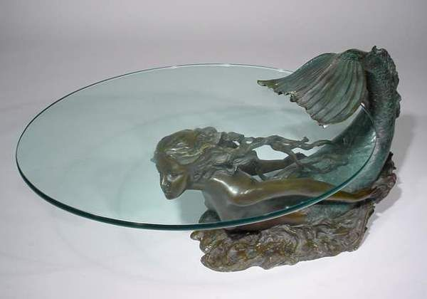 Bronze mermaid coffee table mermaids pinterest for Mermaid coffee table