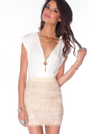 Macrame Eye Combo Dress in Ivory Beige!!!