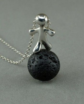 Silver Necklace - man on the moon - silver combined with lava