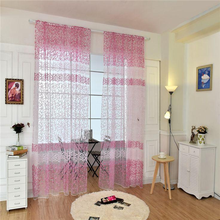 diseo de la hoja de estilo europeo jacquard tejidos de tul sheer cortinas de gasa tejida