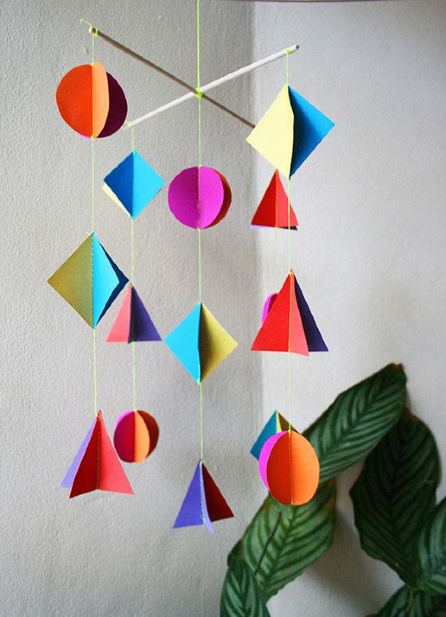 Geometry x Art | STEAM project | geometric mobile | paper art | art ideas for kids