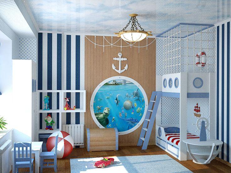 детская для мальчика в морском стиле