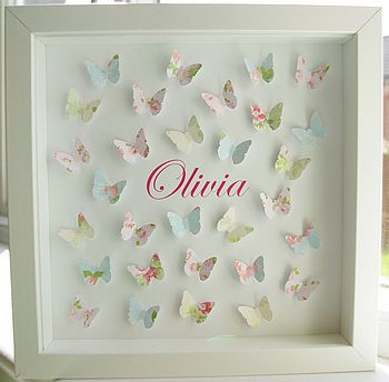 Cute idea for Eve's birthday. Could get her to do a painting and then use that paper for the butterflies?