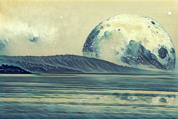 Fantasy illustration - landscape of an alien planet - huge moon reflects in the ocean