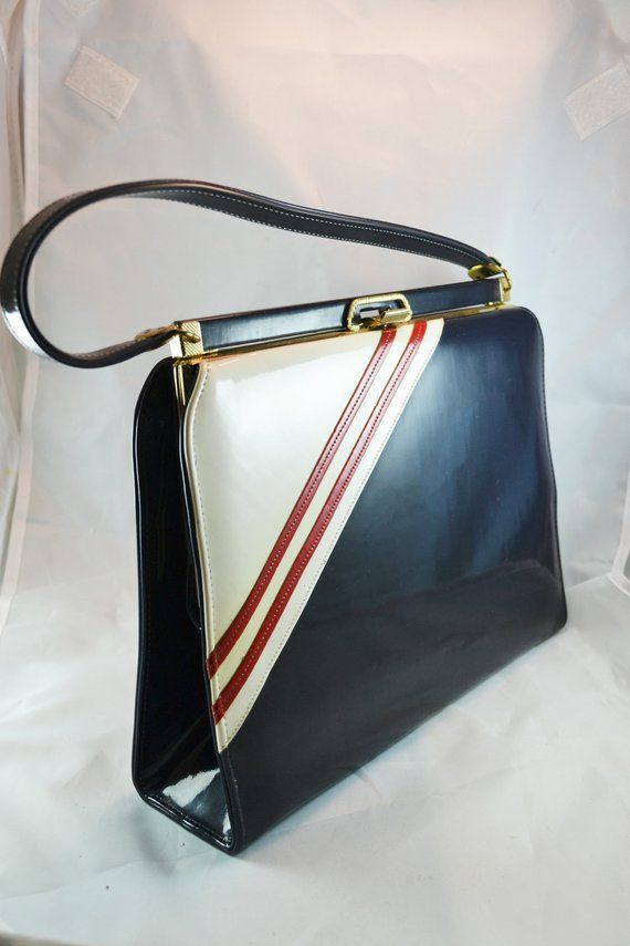 1950s Vintage Red White Navy Patent Leather Handbag Mad Men Purses Mar Shel Handbag Top Handle Bag Perfect For B Patent Leather Handbags Navy Handbag Purses