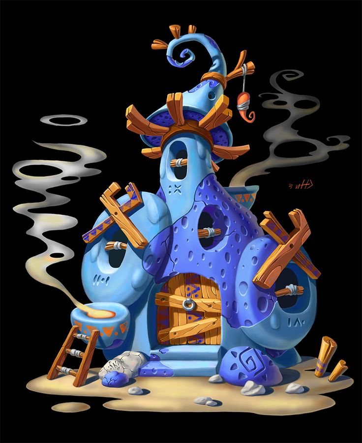 Blue magic house, Inna Stefanova on ArtStation at https://www.artstation.com/artwork/mv9NZ