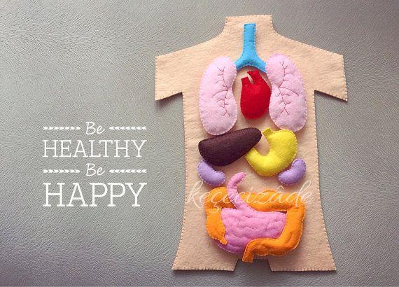 Human anatomy felt set, science toy, educational felt story, montessori at home, montessori toy, human body, felt,