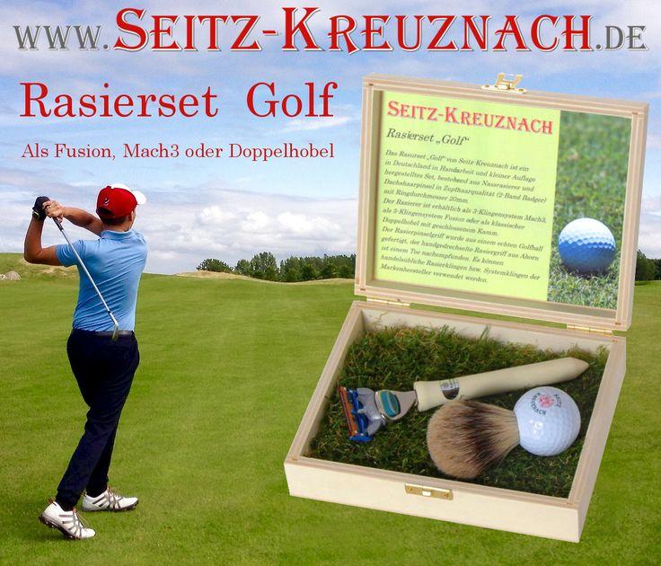"""NEU für Liebhaber des Golfsports und einer exklusiven Rasur: Seitz-Kreuznach Rasierset """"Golf"""" Rasierergriff in Form eines Golf-Tees aus handgedrechseltem Ahorn. Wählen Sie Ihr Klingensystem: Fusion, Mach3 oder Doppelhobel. Best Badger Rasierpinsel mit Feinstem Dachshaar, Griff aus einem echten Golfball. Hochwertige Handarbeit aus Deutschland"""